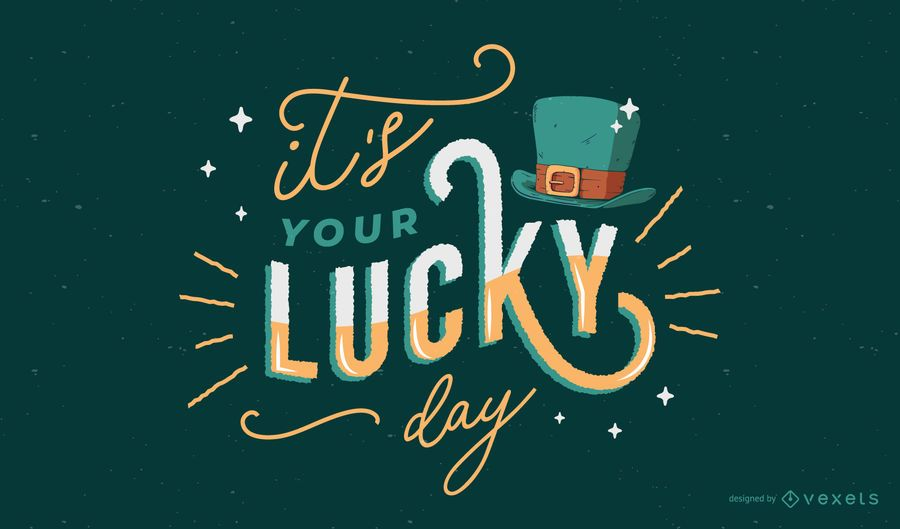 St patricks lucky day lettering design