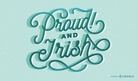 Orgulhoso design de letras irlandesas