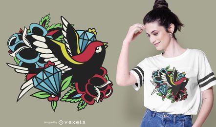 Projeto tradicional do t-shirt do tatuagem do pássaro