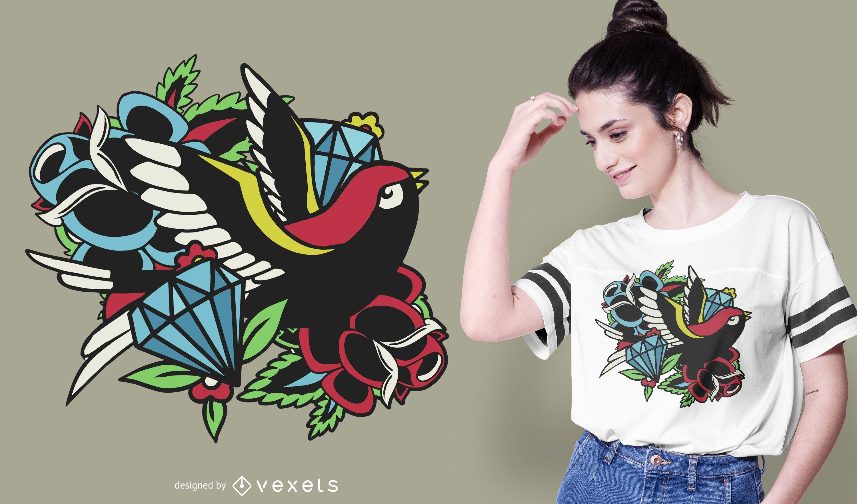 Bird Traditional Tattoo T-shirt Design