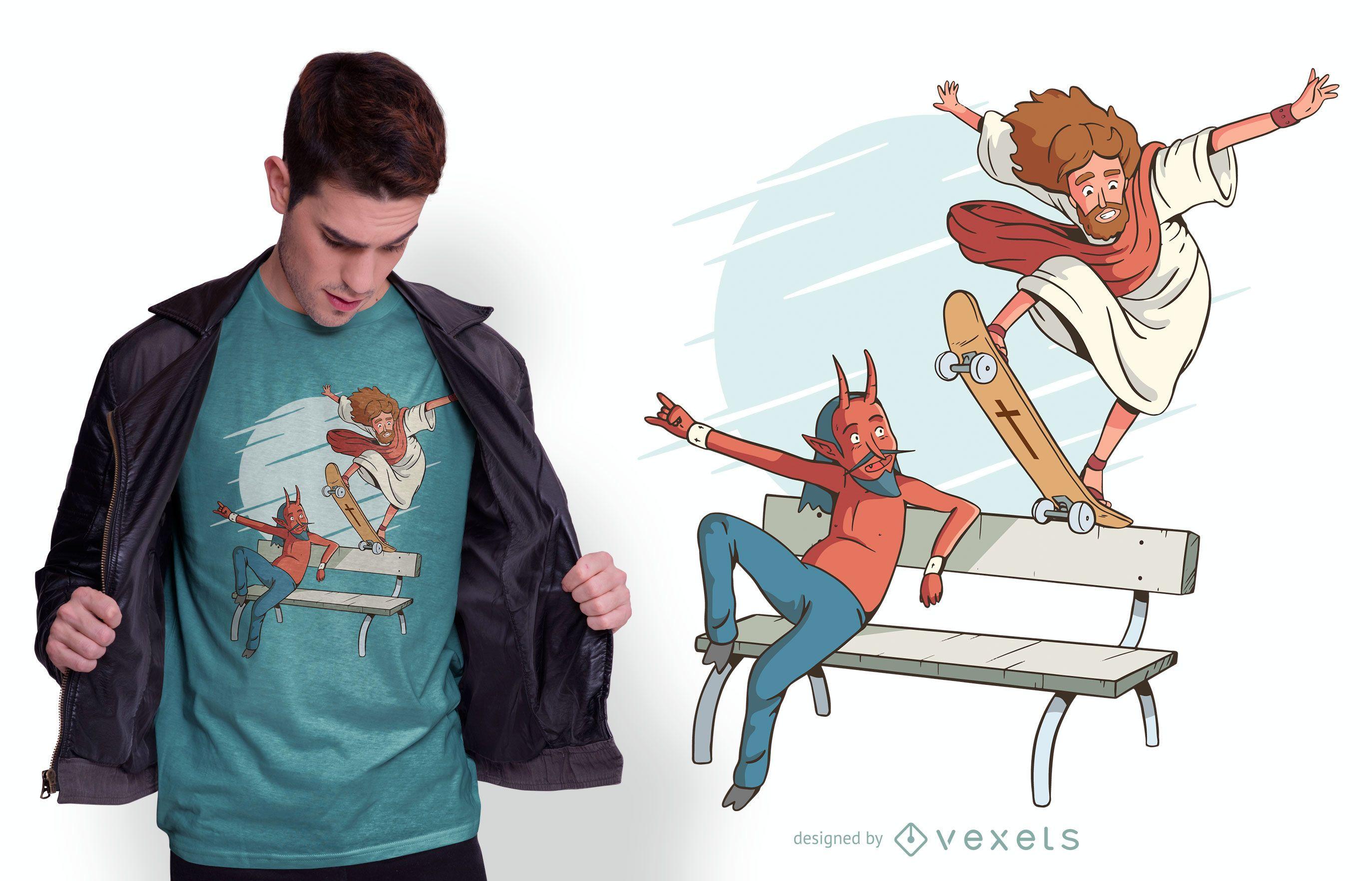Diseño de camiseta Jesus Skateboarding