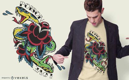 Diseño de camiseta de tatuaje tradicional de serpiente