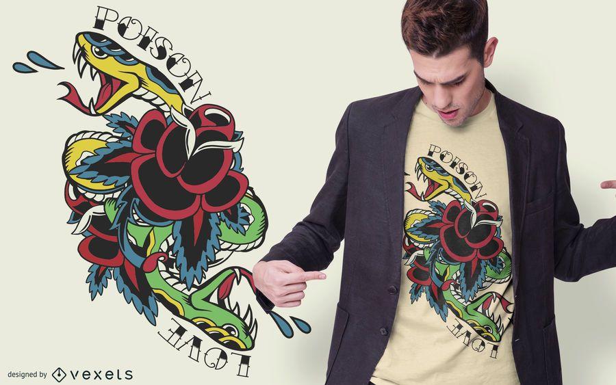 Schlangen-traditioneller Tätowierungs-T-Shirt Entwurf