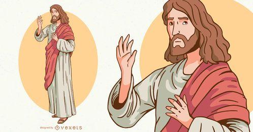 Diseño de ilustración de personaje de Jesús