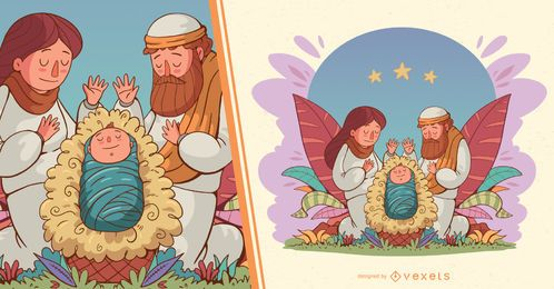 Nativity of jesus illustration
