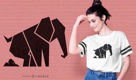 Diseño de camiseta de elefante geométrico
