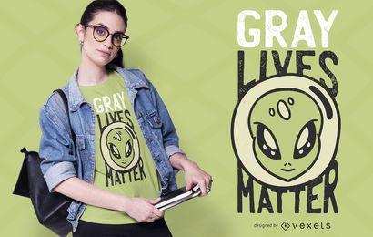 Vida cinzenta importa design de t-shirt