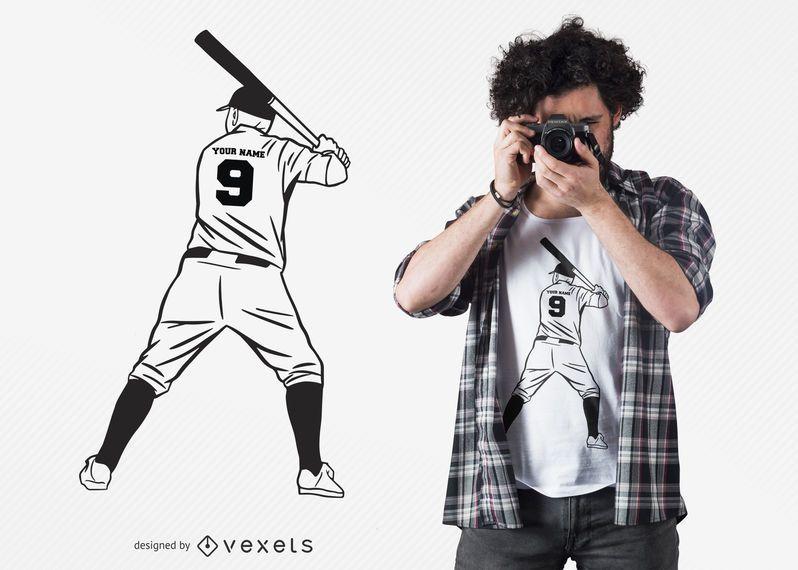 Design de t-shirt de jogador de beisebol