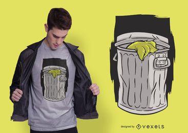 Diseño de camiseta de cubo de basura