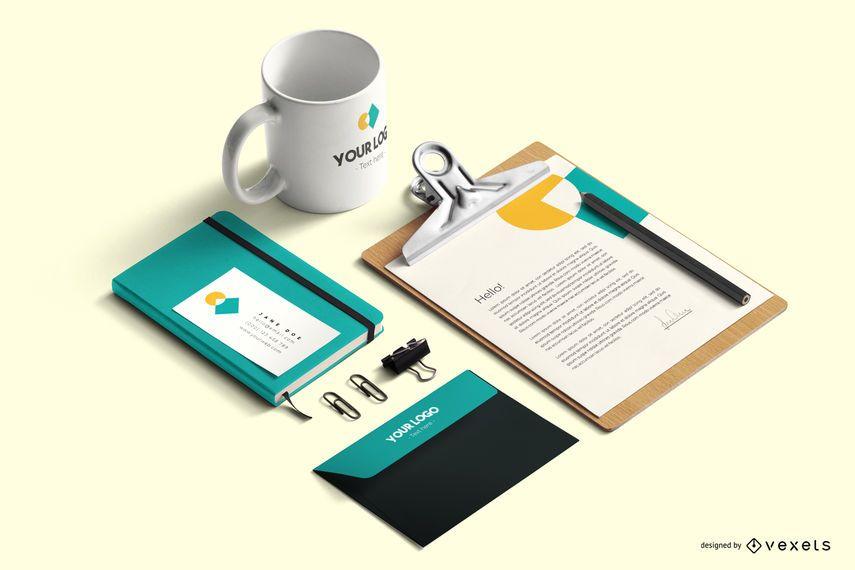 Artigos de papelaria marca composição de maquete psd