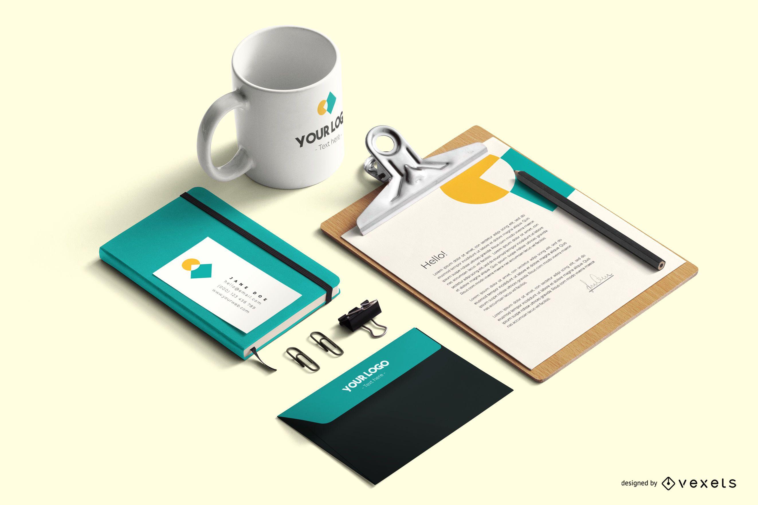 Briefpapier Branding psd Modell Zusammensetzung