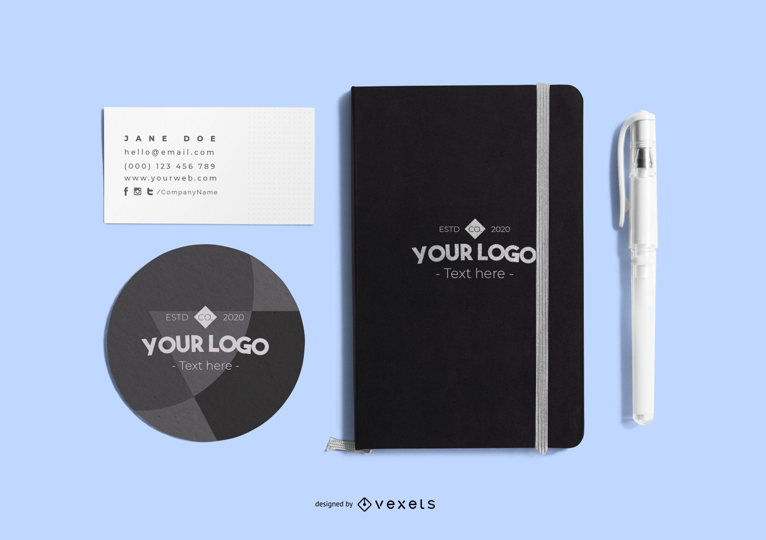 Branding stationery mockup composition