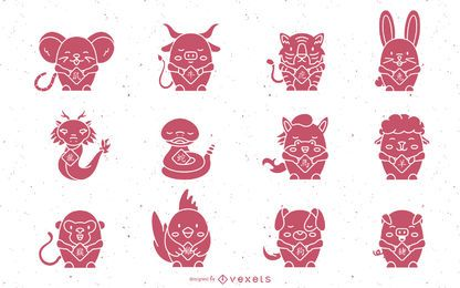 Conjunto de animais bonitos horóscopo chinês