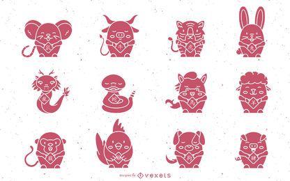 Nette chinesische Horoskoptiere eingestellt