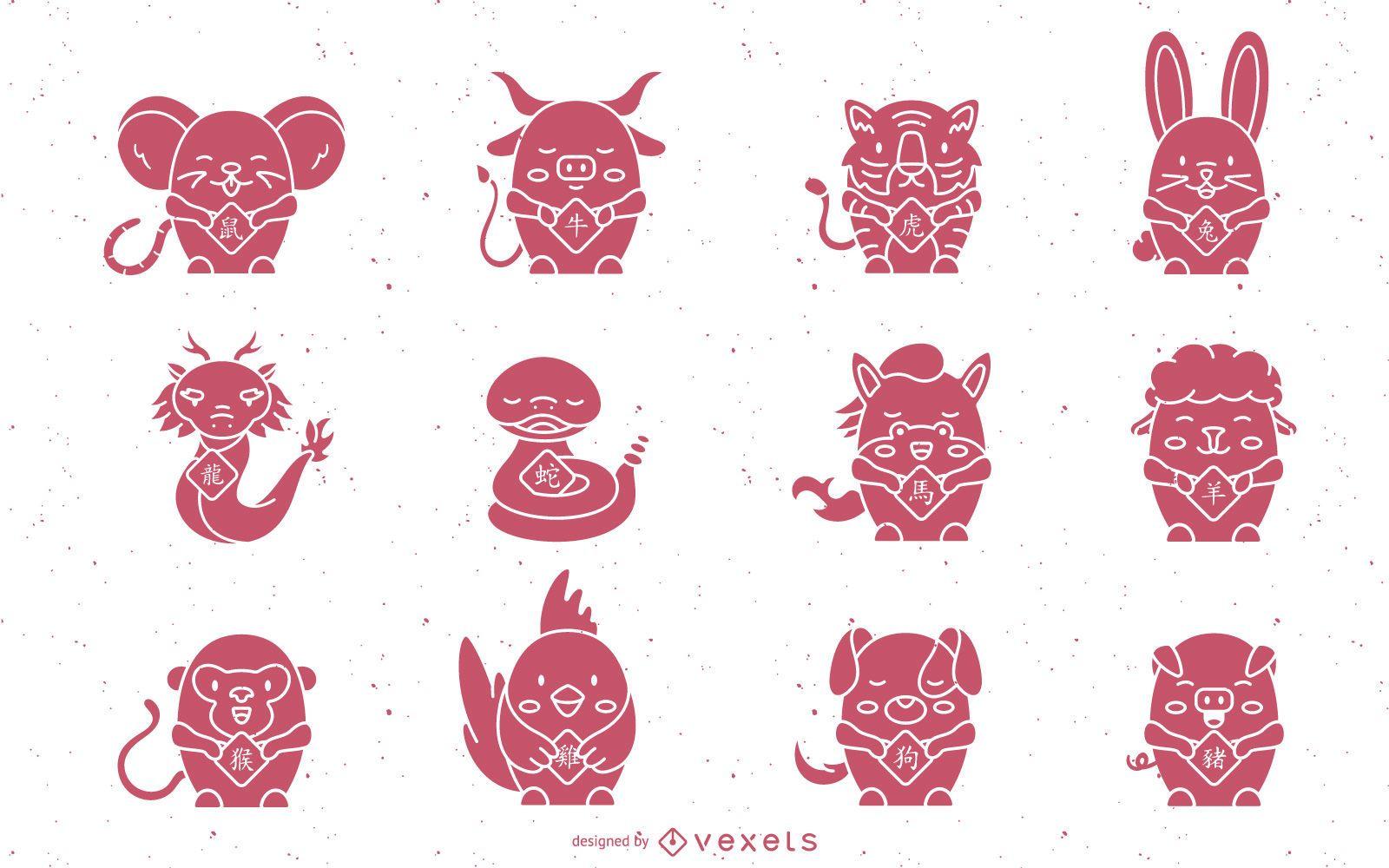 Lindo conjunto de animales del horóscopo chino