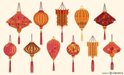 Coleção de lanternas chinesas