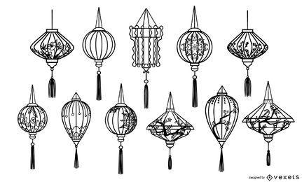 Coleção de traços de lanternas chinesas