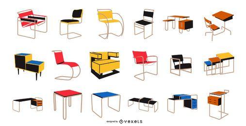 Paquete de muebles estilo Bauhaus
