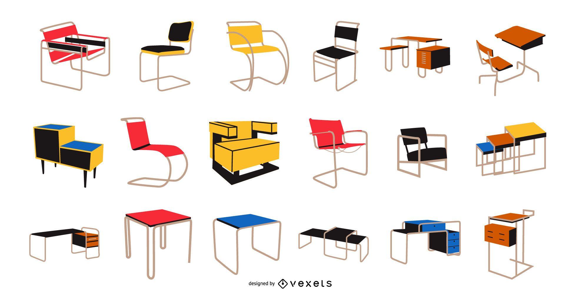 Pacote de móveis estilo Bauhaus