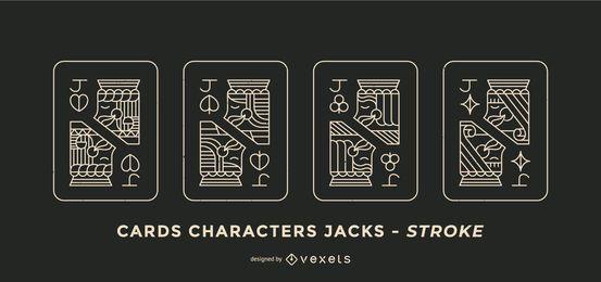 Poker Card Jacks Stroke Design Set