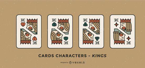 Conjunto de reis de caráter de cartão de pôquer
