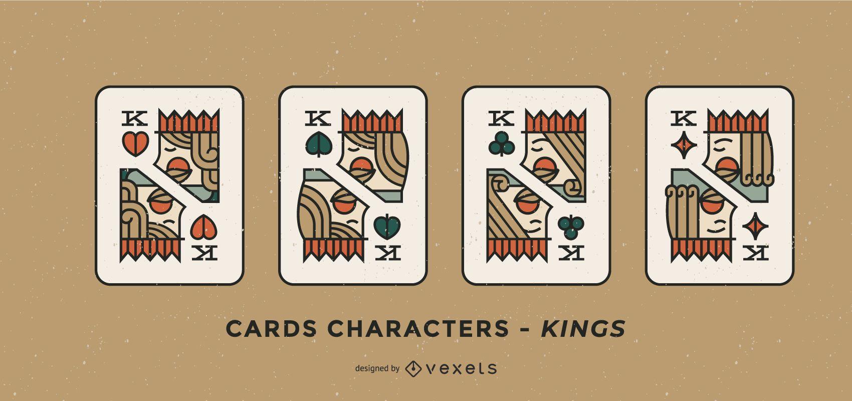 Poker Card Character Kings Set