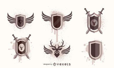 Schild und Flügel frei Vektor