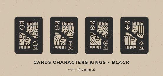 Conjunto de caracteres de rei preto de caráter de cartão