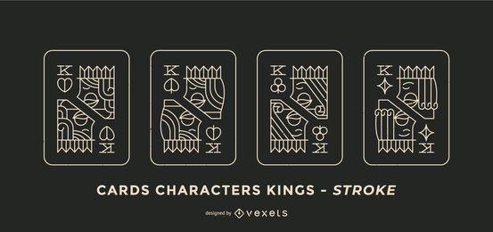 Conjunto de Design de traço de rei de cartão de pôquer