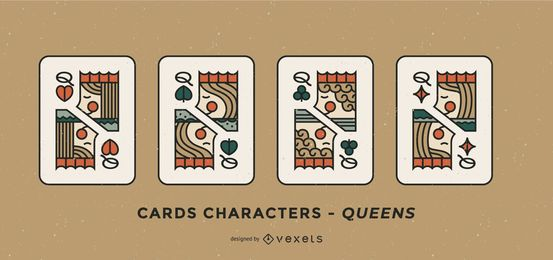 Poker Card Queen Charakter Design Set