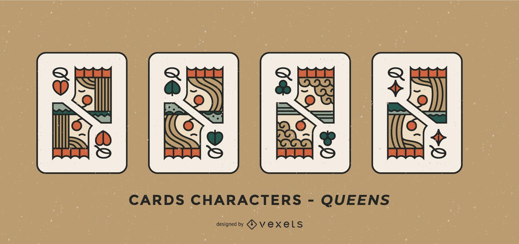 Poker Card Queen Character Design Set