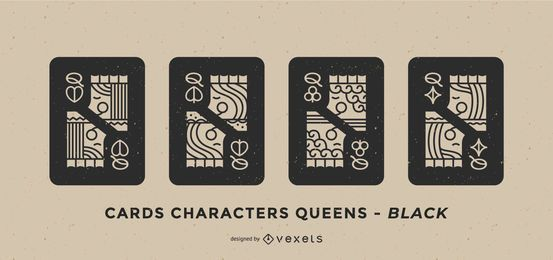 Poker Card Queen Black Design Set