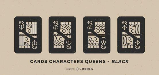 Poker Card Queen Schwarz Design Set