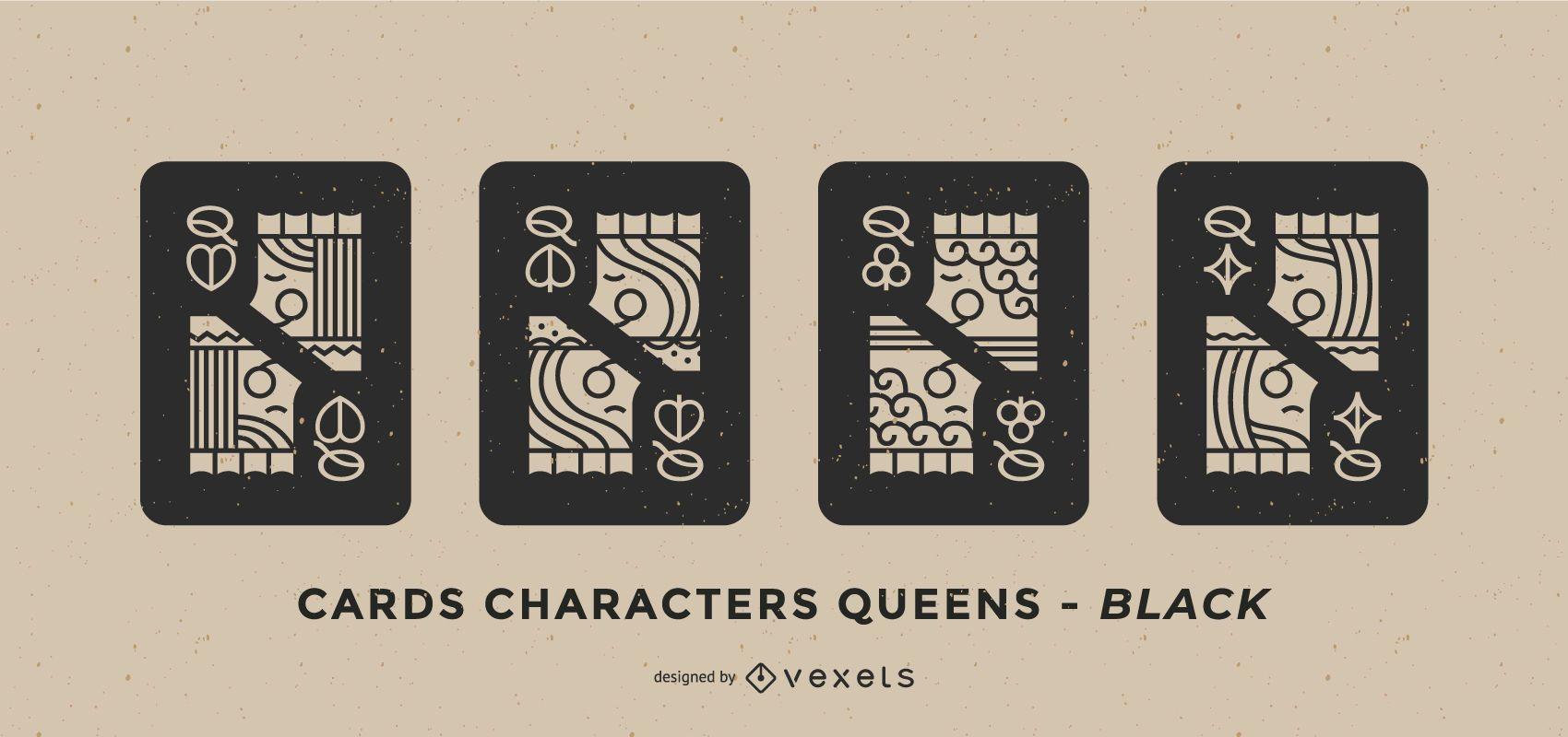 Poker Card Queen Black Design Set