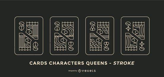 Conjunto de Design de Card de Poker Queen Stroke