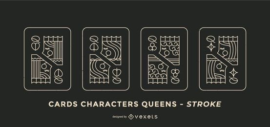 Poker Card Queen Stroke Design Set