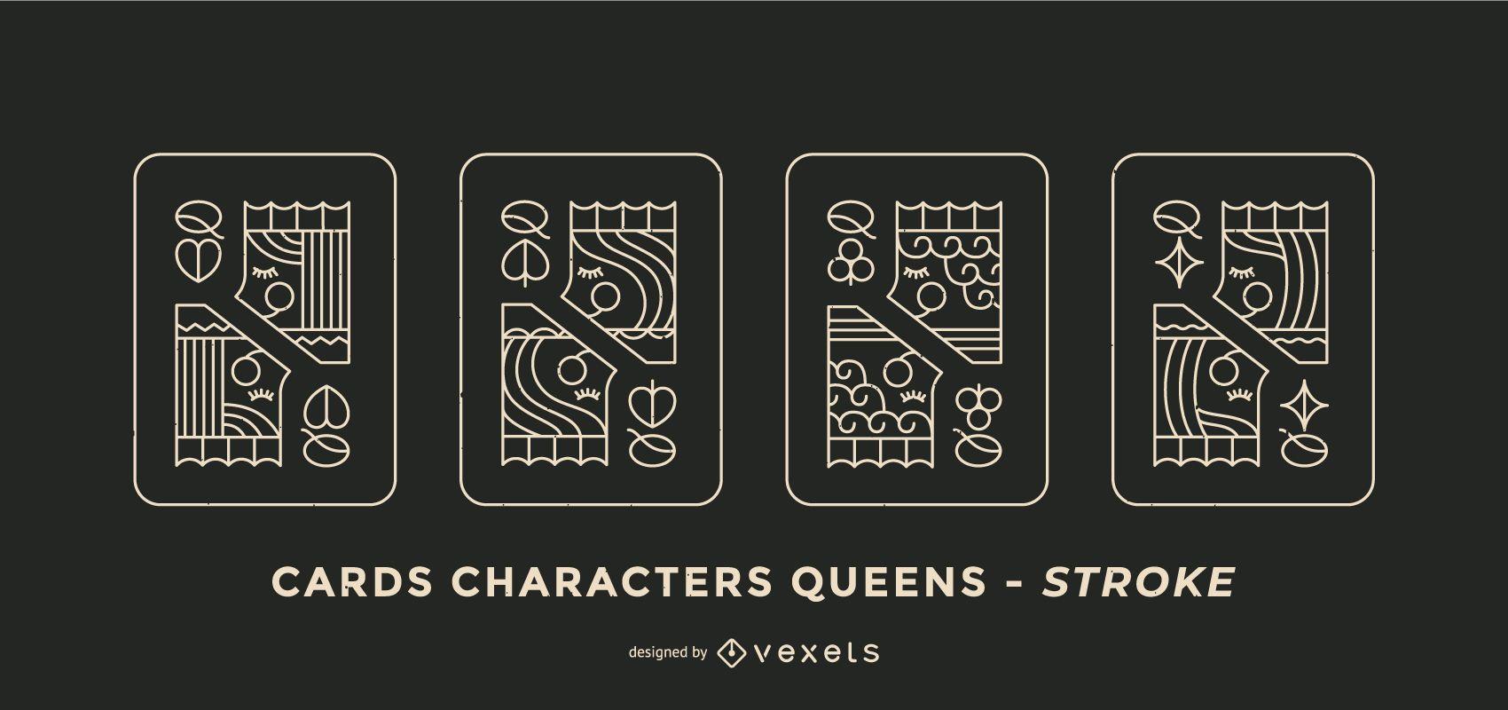 Juego de diseño de trazo de reina de cartas de póquer