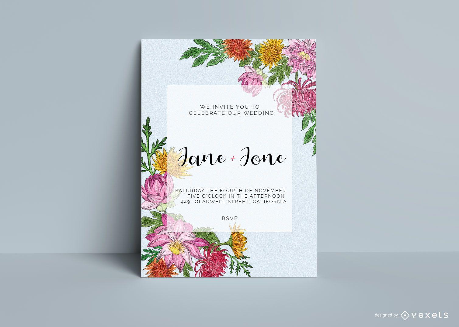 Invitación floral de la tarjeta de boda