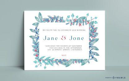 Invitación de tarjeta de boda floral acuarela