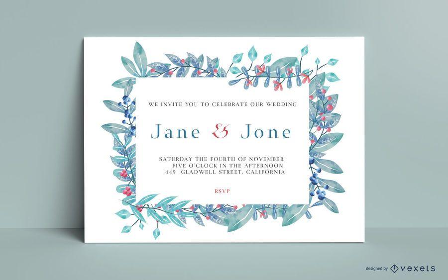Watercolor floral wedding card invitation