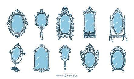 Coleção de Design antigo espelho Vintage