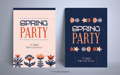 Frühlings-Party-Plakatschablonensatz
