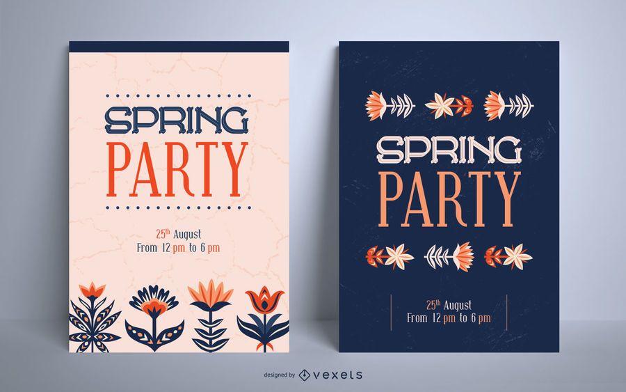 Conjunto de plantillas de carteles de fiesta de primavera