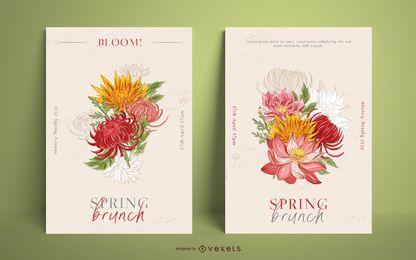 Conjunto de modelo de cartaz de brunch de primavera