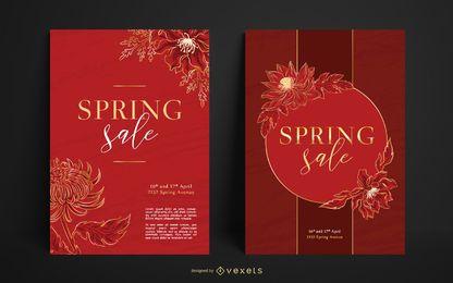 Conjunto de cartaz de venda de primavera