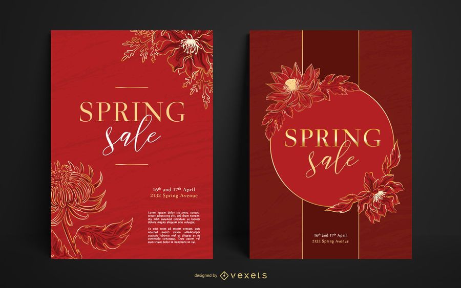 Conjunto de carteles de rebajas de primavera