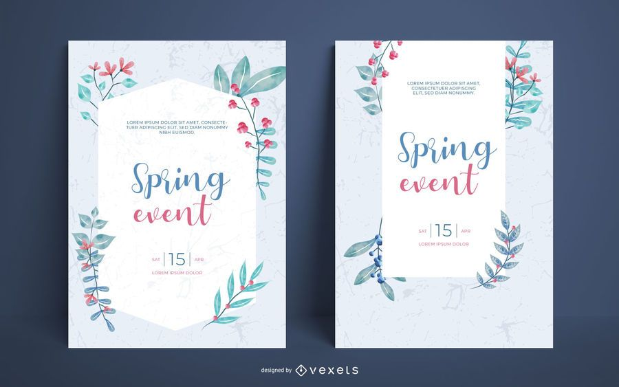 Spring watercolor poster set