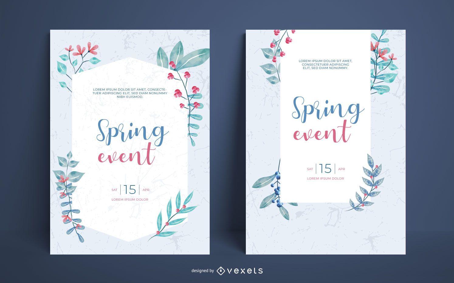 Conjunto de carteles de acuarela de primavera