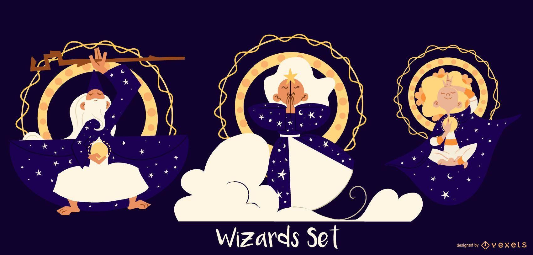 Conjunto de personajes de mago