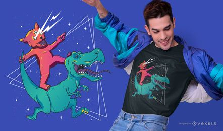 Diseño de camiseta Cat riding dino